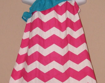 Spring Fling - Pink Chevron Ruffled One Shoulder Dress Teal Accents- Baby Toddler Girl Cotton - Perfect for Spring Summer Easter