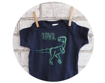 "Dinosaur Baby Onepiece, ""RAWR"" velociraptor,  cotton baby bodysuit, Navy Blue Short Sleeved One Piece, Dino Roar, Baby Shower Gift, Infant"