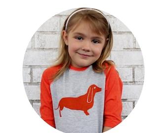 Youth Wiener Dog Baseball Tshirt, Raglan youth Dachshund Graphic Tee, family Pet Dog Lover Screen-Printed Shirt, Children's Clothing, Orange