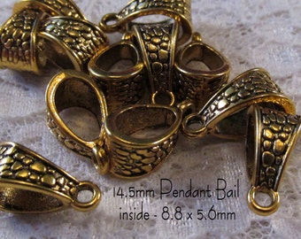 "14.5mm Pendant Bail - ""Pebbles"" - Antique Gold - 5pc - sku 04.10.14.5 - B26"