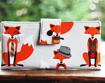 Handmade vegan womens wallet in foxes