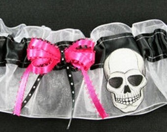 Skull Wedding Bridal Garter, Can Be Personalized