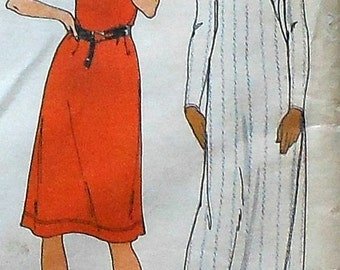 Retro Casual Gown and Dress Sewing Pattern Butterick 4650 Size 14