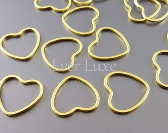 4 small 15mm heart pendants, heart charms for earrings, necklaces, jewelry / jewellery supplies 950-MG-15 (matte gold, 15mm, 4 pieces)