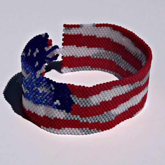 American flag bracelet pattern peyote pattern for Patriotic beaded jewelry patterns