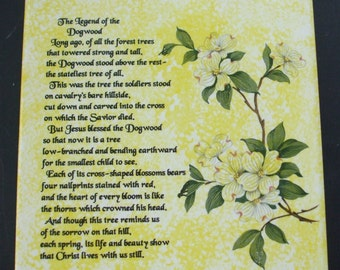 Legend of the Dogwood Ceramic Tile Trivet yellow decal