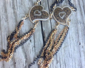 Vintage Heart Damascene dangly Assemblage Upcycled Earrings
