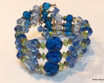 Blue Glass Crystal Wrap Bracelet Aurora Borealis