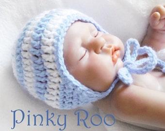 Crochet baby hat / Blue stripes baby hat Hat/  grey baby hat / New Born photo prop