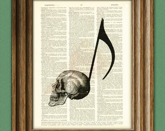 Musical Skull Note over an upcycled dictionary page book art print