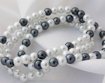 Black White Pearl Stack Layer Beaded Bracelets Stretch Smoke Grey Pearl Bracelets Stack Bracelets