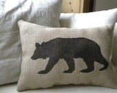 Burlap (hessian)bear pillow cushion Christmas winter or boys room - Etsy Front Page item