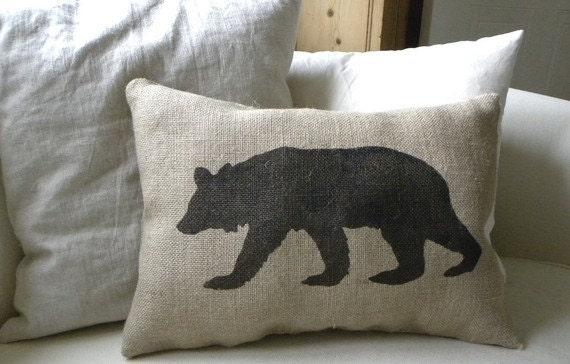 Burlap Bear Pillow Cushion Christmas Winter Or Boys Room