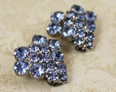 Vintage Baby Blue Rhinestone Heart Clip On Earrings