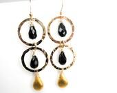 Onyx Dangle Earrings, Yellow Dangle Earrings, Black Dangle, Gold Filled Dangle Earrings, Chandelier Earrings, Drop, Stone, Gold, Vermeil