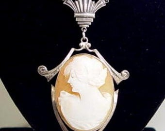 Stunning Art Deco Carved Shell Cameo Sterling Silver Vintage Necklace