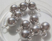 10 - Hand wrapped 6mm Light Gray w/Silver Glass Pearl Dangles-Charms