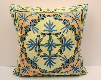 Silk handmade embroidery rug pillow cover, suzani pillow cover 16x16