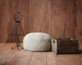 CROCHET PATTERN Knit POUF Pillow Ottoman Cushion Large