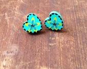 Wood Heart Stud Earrings in Aquamarine, Sale