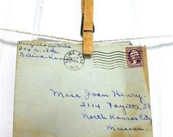 Vintage Christmas Greeting Card Stationery and Envelope US Postal Stamp 1936