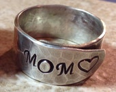 Mothers Ring Sterling Silver Mother Ring Hand Stamped Wrap Ring Mom Ring