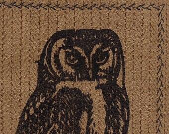 Preppy Owl Linocut on Fabric- Monoprint Original-4 x 6 inch- Camel Brown