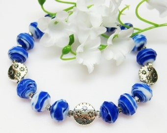 Sale China Blue Bracelet - Glass Bracelet - Blue and White Bracelet - Fashion Jewelry - Womens Jewelry - Handmade
