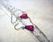 NECTAR.  Dark Berry Pink Tourmaline berries. Simple dangle earrings. Bridesmaids earrings, Maid of honor gifts