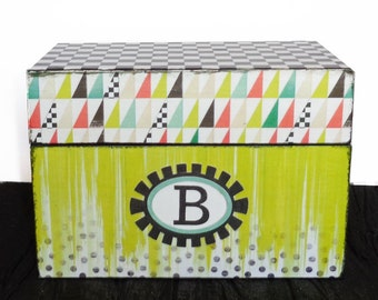 Recipe Box Monogrammed Urban Market Wooden