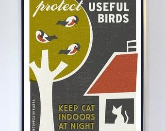Original Illustration - Protect Useful Birds - Pet Care Art - Typography