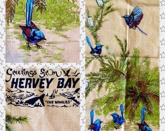 1970s HERVEY BAY Blue WREN Linen Teatowel nos