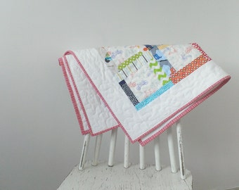 Personalised baby girl pram quilted patchwork christening gift quilt or blanket