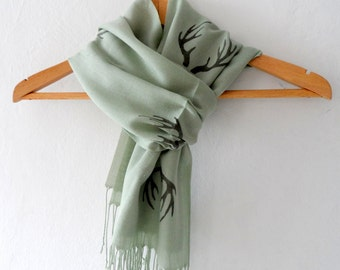 Green Antler Scarf, Hand stamped Moss Green Cotton Tassel scarf, spring accessories