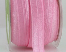 """Pink Foldover Elastic,  5/8"""" wide Decorative Elastic by the yard, Crafts, Sewing, Headband Elastic, Gift Wrap, Elastic Trim, Party Supplies"""