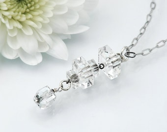 Crystal Drop Necklace with Antique Cut Crystal Beads / Lavaliere Style Bridesmaids Necklace / Wedding Jewelry - 20 inch Chain