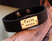 ID Mens Bracelet / Personalized Leather Bracelet for Men / Jewish Gift for Him / Dad Bracelet / Father days Gift / Hebrew Engraved Cuff