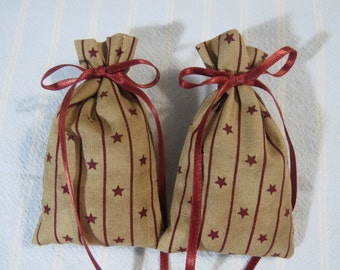 "Patriotic Tan 3""X2"" Sachet-'Summer Meadow' Fragrance-Holiday Star Sachet-Cotton Herbal/Botanical Hand Blended Sachet-Cindy's Loft-360"