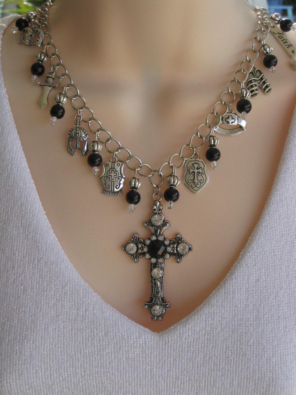 armor of god necklace charm necklace black by ralstonoriginals