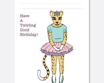 Cheetah Twirl Birthday Card, Fun Birthday Card, Animal Birthday Card, Kid Birthday Card, Boy Birthday Card, Girl Birthday Card