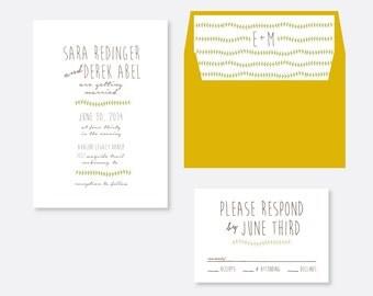 Rustic Wedding Invitation, Organic Wedding Invitation, Script Wedding Invitation, Pattern Wedding Invitation, Classic Wedding Invitation