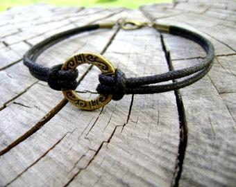Black men bracelet - Black night - cotton cord men bracelet lucky bronze charm mens jewelry
