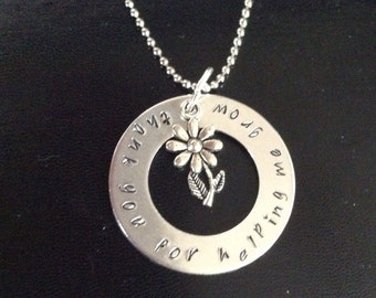 Teacher appreciation necklace - thank you for helping me grow