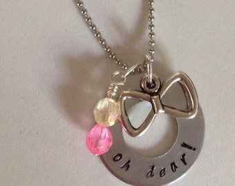 "Minnie's Bowtique inspired ""oh dear!"" necklace"