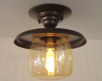 Wiscasset. Vintage Amber Glass CEILING LIGHT Created NEW with Edison Bulb