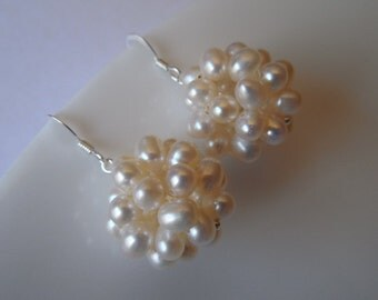 Bridal Earrings, Bridesmaid Earrings, Freshwater Pearl Cluster Sterling Silver Earrings, Birthday Gift, Wedding Gift, Bridesmaid Gift