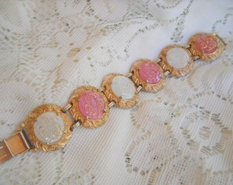 Hobe 1960s Exceptional Pink and White Glass Medallion Bracelet