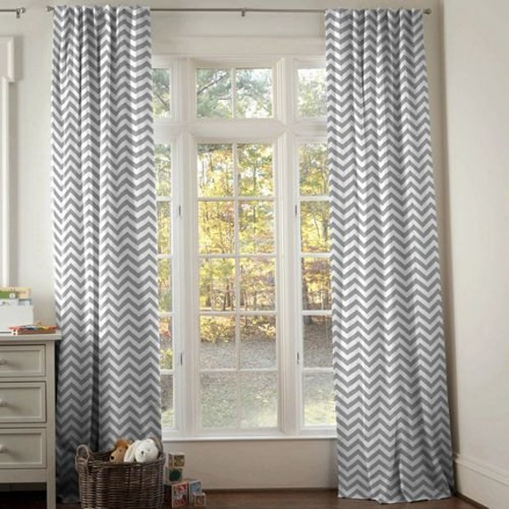 Sale grey and white chevron window treatments by batesonsboutique for Grey bedroom window treatments