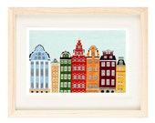 STOCKHOLM, SWEDEN - 5 x 7 Colorful Illustration Art Giclee Print For Wall And Home Decor, Red, Green, Maroon, Orange, Yellow