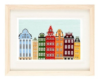 STOCKHOLM, SWEDEN - 4 x 6, 5 x 7 Colorful Illustration Art Giclee Print For Wall And Home Decor, Red, Green, Maroon, Orange, Yellow